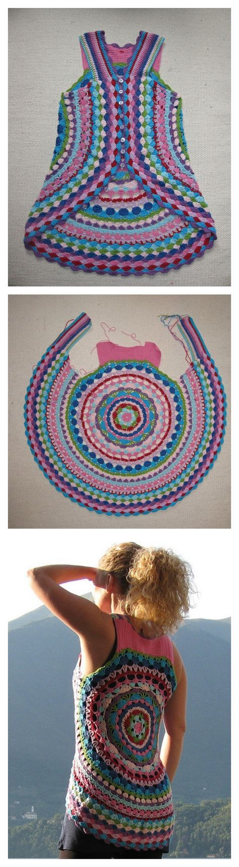 Round crochet top - no pattern