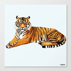 """Tiger Canvas Print    Canvas Prints - Fine art print on bright white, fine poly-cotton blend, matte canvas using latest generation Epson archival inks. Individually trimmed and hand stretched museum wrap over 1-1/2"""" deep wood stretcher bars. Includes wall hanging hardware.   #notebook #art #painting #drawing #illustration #decoration #idea #print #iphone #case #phone #smartphone #artist #tomcii #society6 #youtube #canvas #cool #wall #draw #colors"""