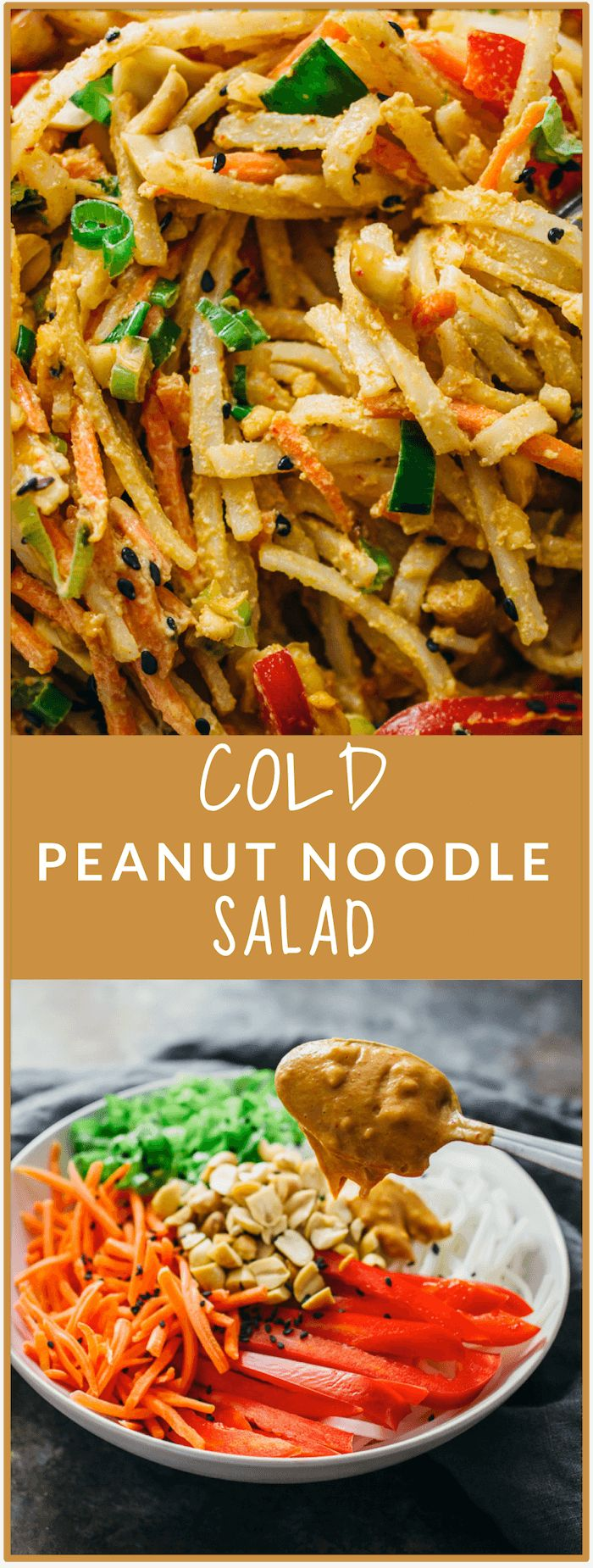Cold peanut noodle salad - Cool off on a hot summer day with this COLD peanut noodle salad! This Thai-inspired recipe consists of noodles, healthy vegetables, a tasty and spicy peanut dressing, and is topped with sesame seeds. This is an easy vegan dish that you can whip up for weeknight dinners during summer. - savorytooth.com