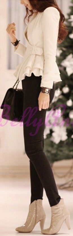 perfect winter colours bkack pants and black bag white coat and beige sand nude ankle boots ♥ love this romantic look