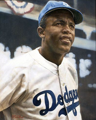 "Jackie Robinson 16"" x 20"", oil painting by Ron Stark"
