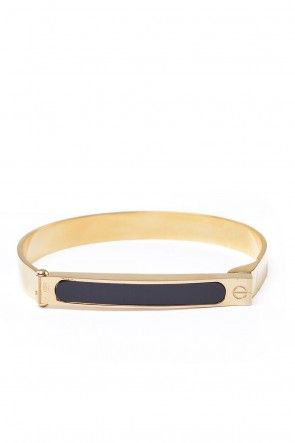 Cathie Straight Bar Bangle  in Gold