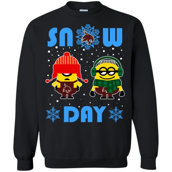 Texas State Bobcats Minion Christmas Ugly Sweater Snow Day Snowflake Sweatshirts