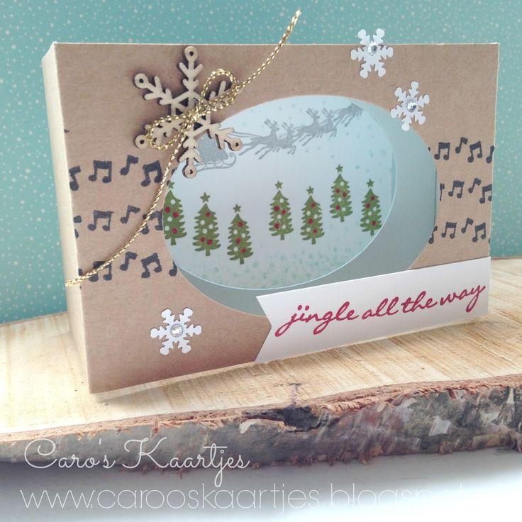 Stampin' Up!, Jingle all the way, kerstkaart, zelf maken, stempelen, kijkdoos, diorama kaart,  Cozy Christmas, diy,  3-d kerstkaart, knutselen