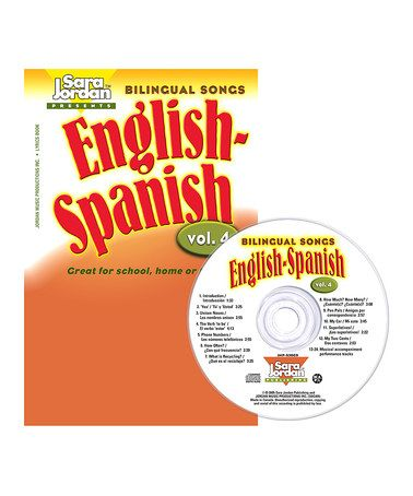 Take a look at this Bilingual Songs: English-Spanish Songs Vol. 4 CD & Lyrics Book by Sara Jordan Publishing on #zulily today!