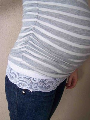My daughters friend made a bunch of these so she could wear her regular jeans during her pregnancy. Just pull them over the pants opening then pull your shirt down over that CUTE!!!
