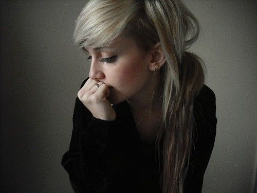 undercut blond long bleach bangs
