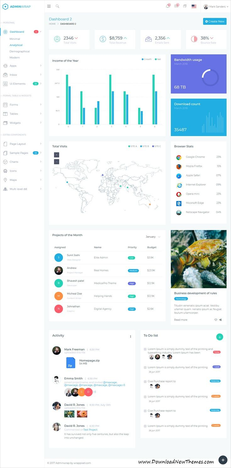 AdminWrap is clean and modern design 5in1 responsive #bootstrap #dashboard template for custom #admin panels, CMS, #CRM, SaaS, and web applications website with 100+ Integrated Plugins, 500+ Pages, 3000+ Font Icons, 500+ #UI Components to live preview & download click on image or Visit 👆