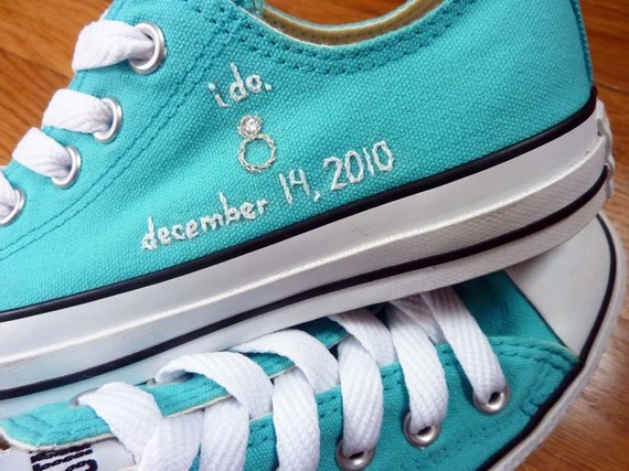 Fun. Blue converse for either bride and groom embroidered with wedding date. Unique something blue idea