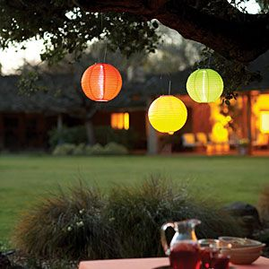 Solar lanterns ~~ An evening in the garden is more festive when these colorful lanterns turn themselves on. A 10-inch-diameter globe of durable nylon, the Soji Solar Lantern contains a small photovoltaic panel, a rechargeable battery, and two LED light bulbs. When darkness falls, a built-in sensor turns on the lights, which glow for up to eight hours.   Sunset.com