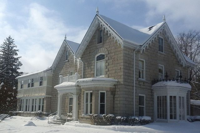 Westover Inn, 300 Thomas St, St Marys, Ontario. Built in 1884 for brothers William and Joseph Hutton. The Roman Catholic Church acquired the estate in the 1930's and operated it as a seminary. It has operated as a hotel since 1987.