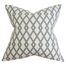 Add a fresh update to your master bed or sofa with this 100% cotton cushion, featuring a tessellated design. Team with bare wood floors and neutral decor for contemporary appeal.  Product: CushionConstruction Material: 100% CottonColour: Grey and whiteFeatures: Insert includedReversible pillow with same fabric on both sidesDimensions: 46 cm x 46 cmCleaning and Care: Dry cleaning recommended