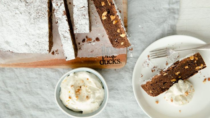 This brownie recipe is too good to share (!) It's the Three Blue Ducks' chocolate and walnut brownie with hazelnut whisky cream. Oh, all right. We've shared it.