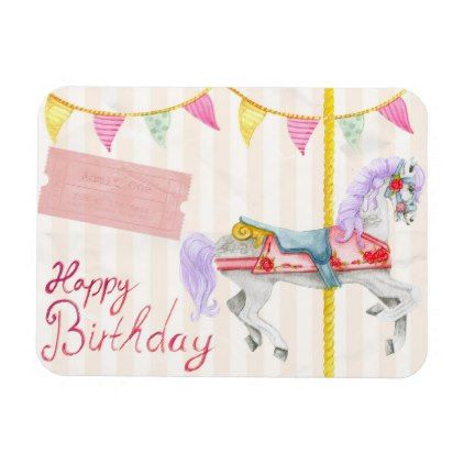 Colorful Carousel Birthday Party Invitation Magnet