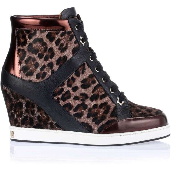 Jimmy Choo Preston leopard print wedge sneaker (3.705 HRK) ❤ liked on Polyvore featuring shoes, sneakers, wedges, leopard print sneakers, wedge heel sneakers, leopard wedge sneakers, metallic shoes and metallic sneakers
