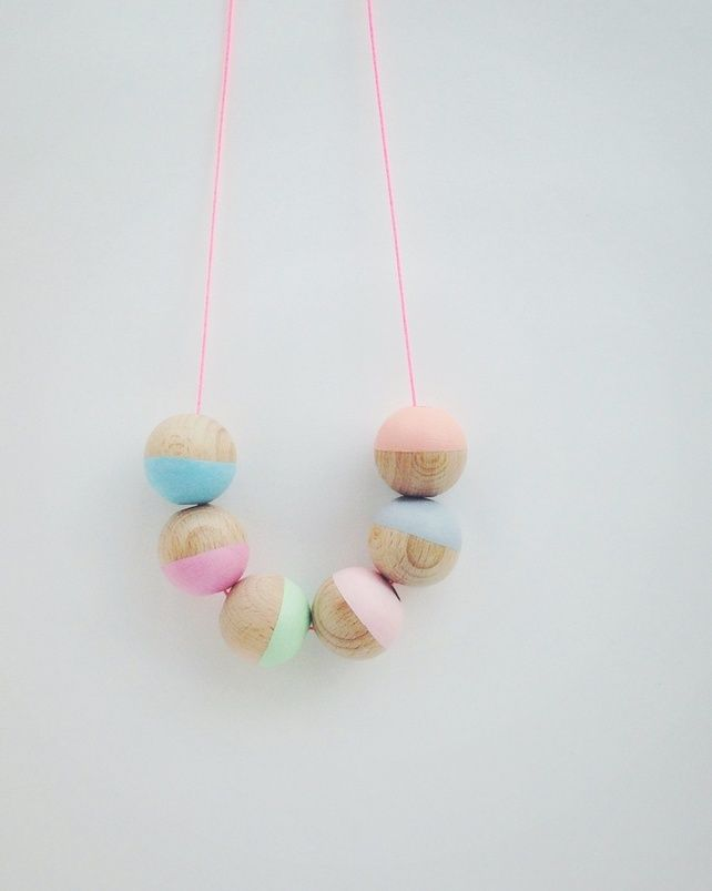NEW Pastel-Pop Hand-painted Wooden Bead Necklace