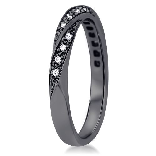 Alliance torsadée diamant or noir  Amoureuse