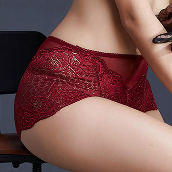 Lace Soft Briefs See Through Lace Embroidered Sexy Lingerie Female Panties at Banggood