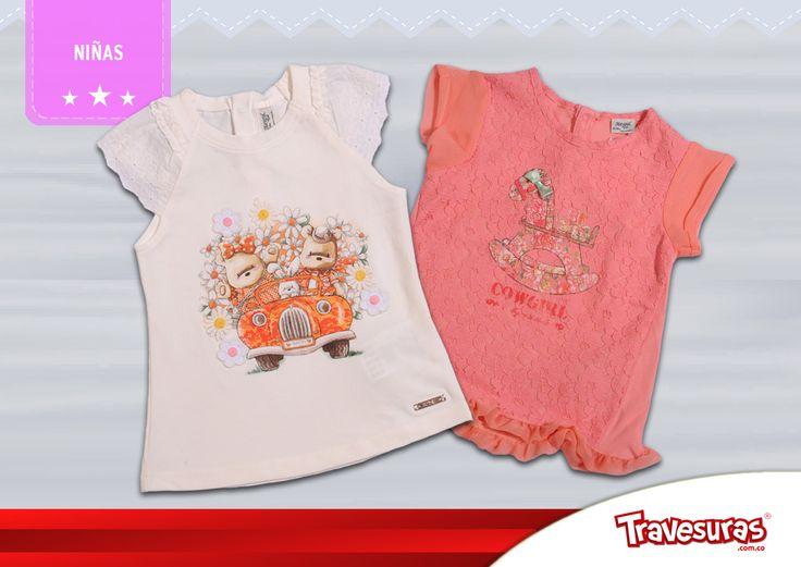 Colección fin de año 2015 - blusas niña. Más información en www.travesuras.com.co
