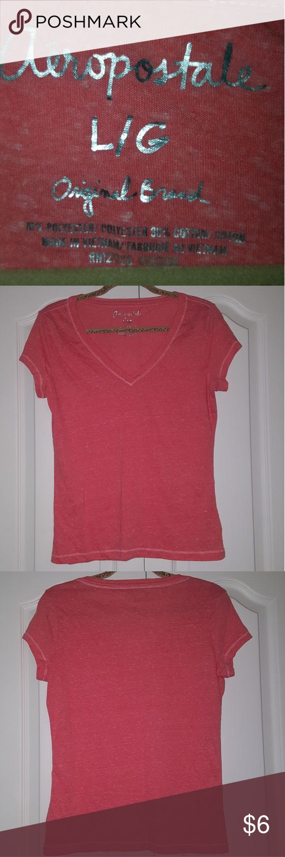 Aeropostale simple V-neck t-shirt Good condition. Worn only a few times. Size: large. Color: coral, pink/orangish. Aeropostale Tops Tees - Short Sleeve