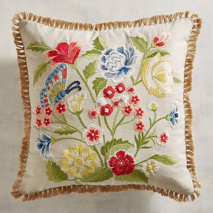 Unique Embroidery Design on a Cushion to Embroider with a Flowers /& Butterfly Embroidery Pattern