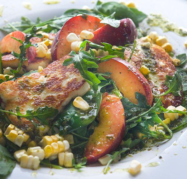 Peach, sweet corn and halloumi salad with lemon basil vinaigrette