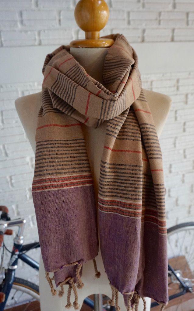 Hand woven striped scarf - Multi
