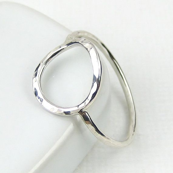 Sterling Silver Circle Ring Hammered Karma Ring by PuranaJewellery, £18.00
