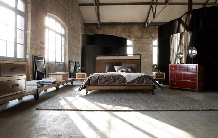 industrielle Schlafzimmer Design mit Sichtbeton und eine erstaunliche design