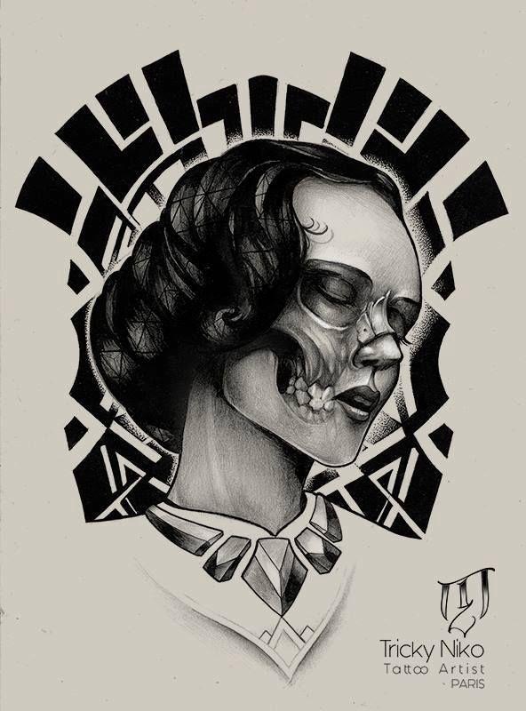The Lady by Tricky Niko (Paris-fr) #blackngrey #tattoo #drawing #paris #trickyniko #lady #skull #flash #french #frenchtattooartist #matierenoi…