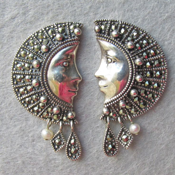 Gorgeous Thai Goddess Half Moon Face Sterling Silver, Marcasite & Pearl Vintage Pierced Earrings