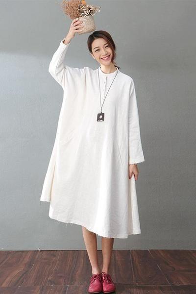 Spring White Casual Cotton Linen Dresses Long Sleeve Shirt Dress Women Clothes