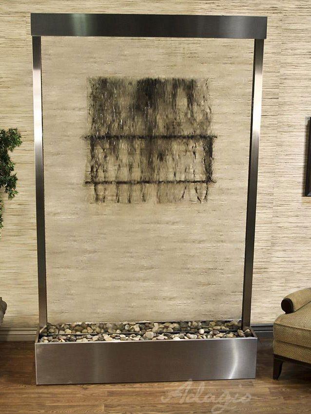 Freestanding Premade Glass Fountain 9 foot high 5 foot wide. http://waterfallnow.com - https://waterfalldecor.com