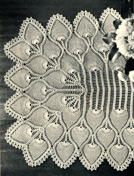 crocheted runner | 1940's Pineapple Crochet Table Runner Pattern by PearlShoreCat