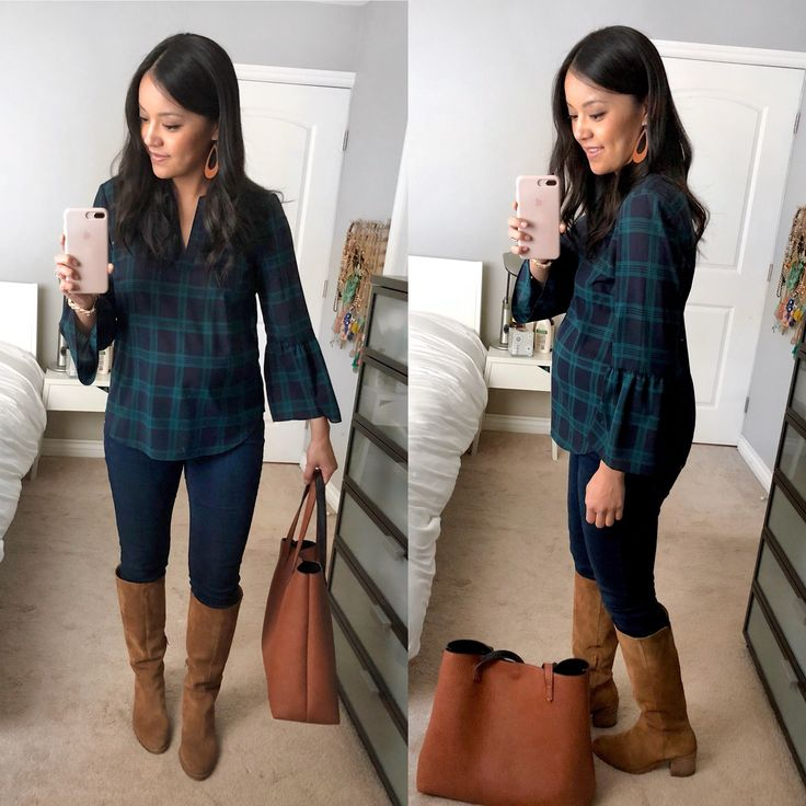 Green and Navy Plaid Shirt + Dark Skinny Jeans + Brown Suede Boots + Tote Bag …   – Clothes