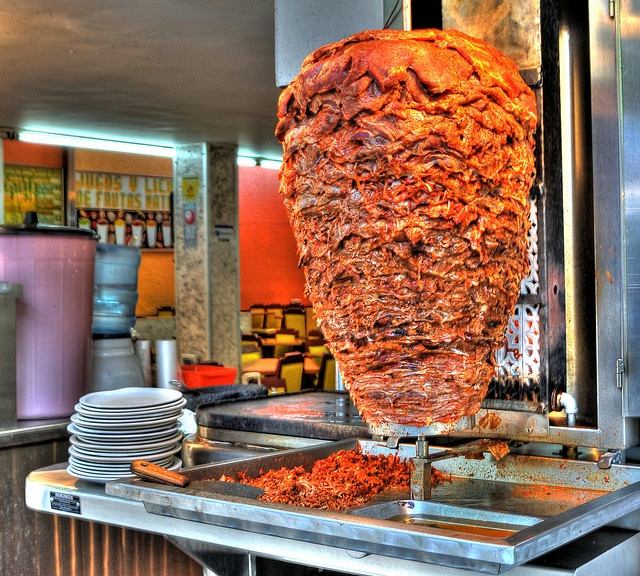 Tacos Al Pastor know as Tacos de Trompo adapting the Middle Eastern ...