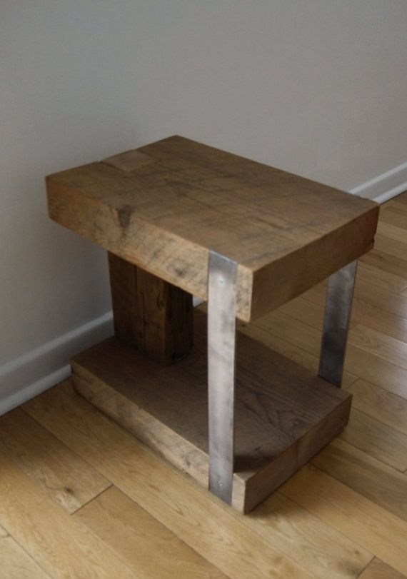 Night stand reclaimed wood and metal bedside table for Repurposed metal furniture