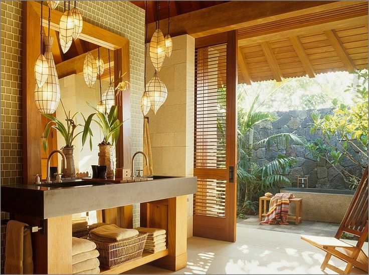 Bathroom Lovely Outdoor Bathroom Ideas Stone Bathtub Wooden Bench Wooden Framed Mirror Stainless Steel Double Handle Faucet Paper Lampshade Beige Ceramic Tile Wall Square Undermount Sink Wooden Folding Chair Tropical Outdoor Shower And Bathroom