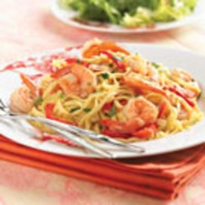 Shrimp and Sweet Red Pepper Linguine