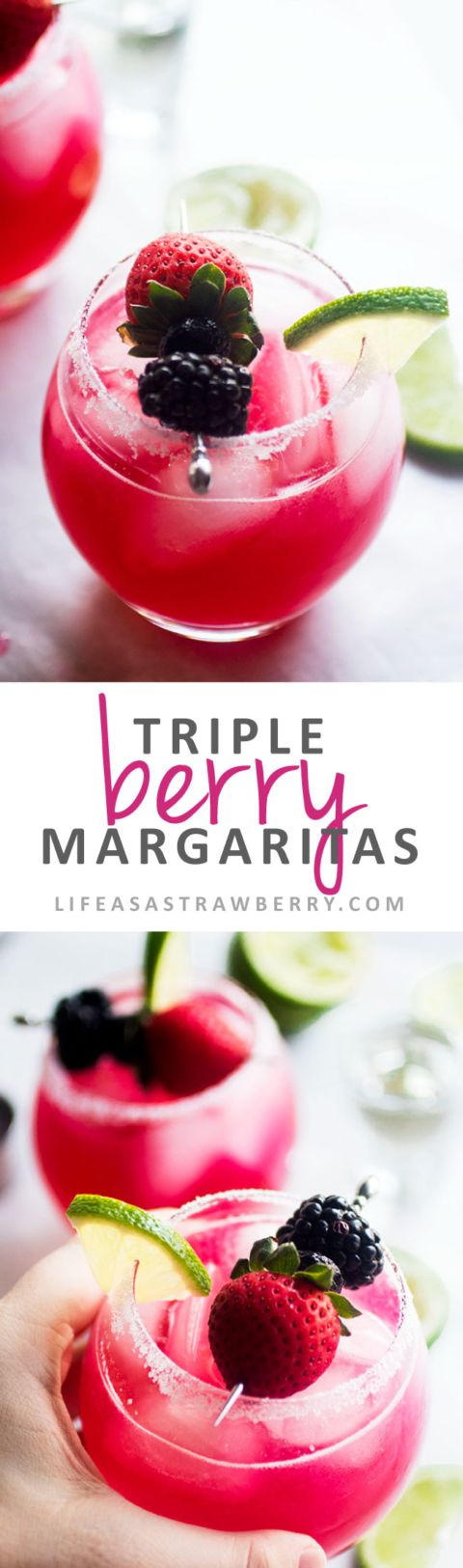 Triple Berry Margaritas - This easy margarita recipe uses fresh blackberries, strawberries, and blueberries for a sweet, colorful twist on a refreshing tequila cocktail. No margarita mix required! Vegetarian, Vegan.