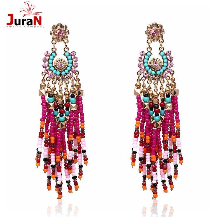 Juran big star epoca fatti a mano vento cinese dei monili della boemia etnico moda resina bead a forma di ventaglio grandi orecchini per le donne f3405