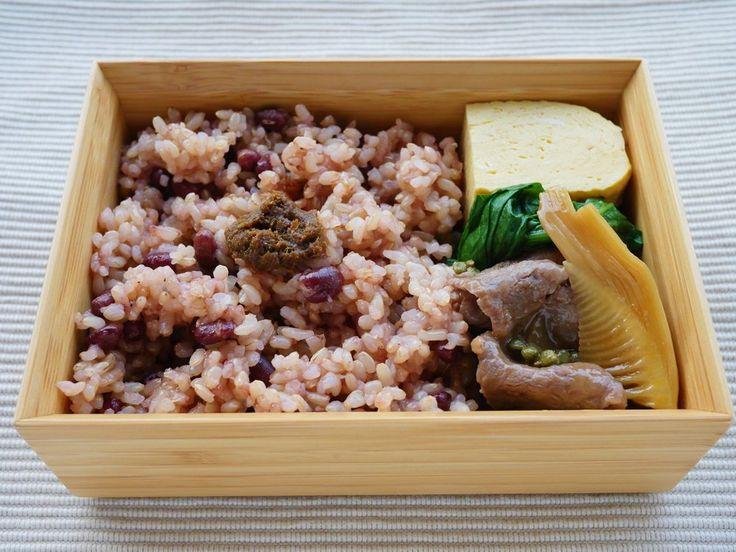 小豆玄米ご飯180g(富貴味噌) 出汁巻卵 小松菜辛子浸し 牛筍鞍馬煮