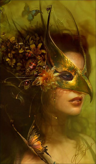 Like a simpler mask connected/moving into floral hair decoration, which is actually the more elaborate. Creepy version with spiders and webs suspended between/over/in parts.