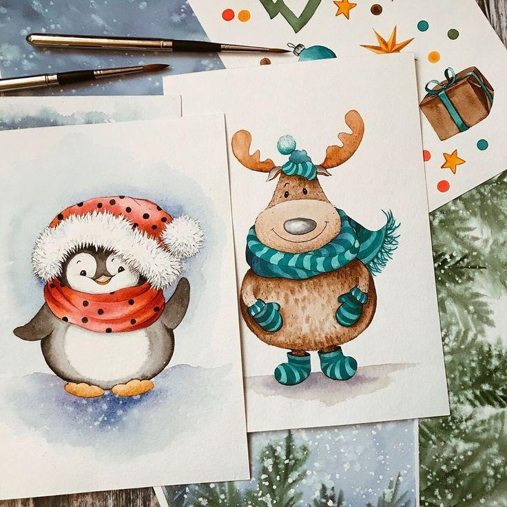 начале что нарисовать на новогодней открытке должна
