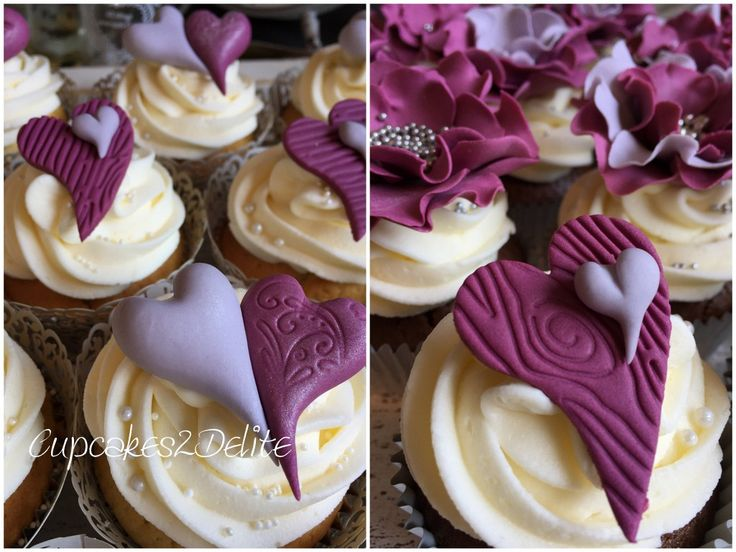 Sangria & Grey Wedding Cupcakes with hearts and nestled hearts.