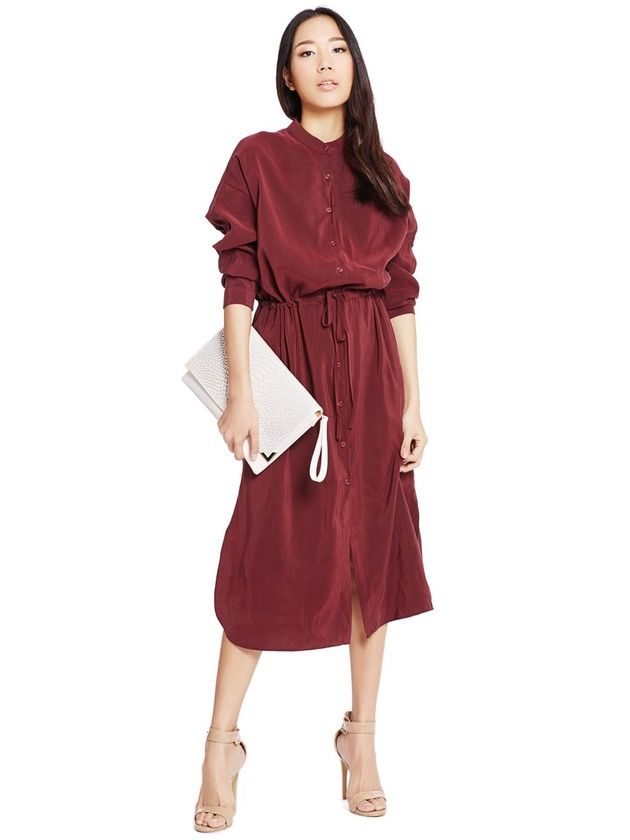 Image of Burgundy Drawstring Dress