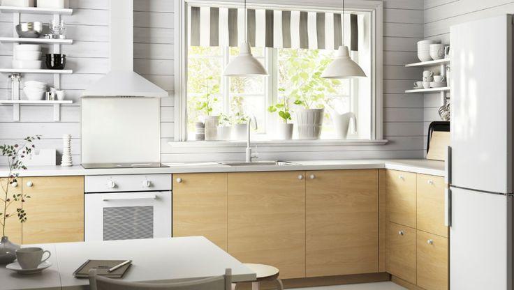 Køkken med HAGANÄS skuffefronter og skuffer af birk METOD køkken - ikea küche värde katalog