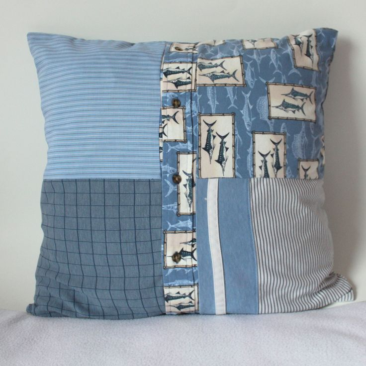 Memory Pillow Made From Four Shirts Patchwork Style