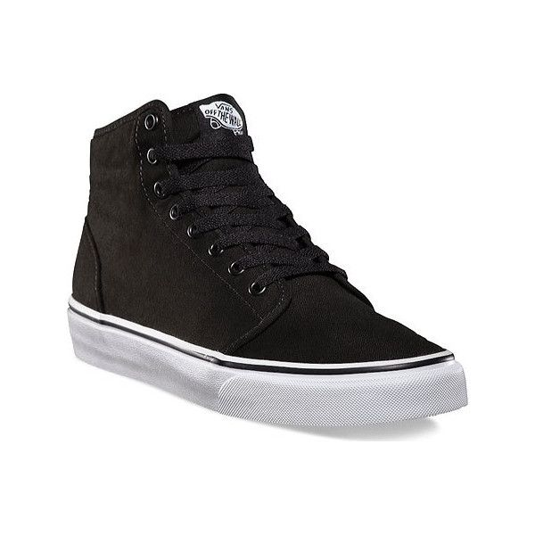 Vans 106 Hi - Black/True White Canvas Shoes ($38) ❤ liked on Polyvore featuring shoes, sneakers, vans high tops, white hi top sneakers, vans sneakers, canvas sneakers and black high tops