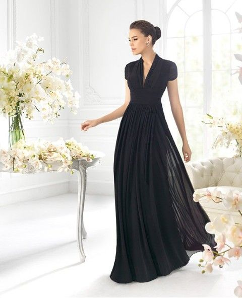 Custom made modest chiffon A-line dress